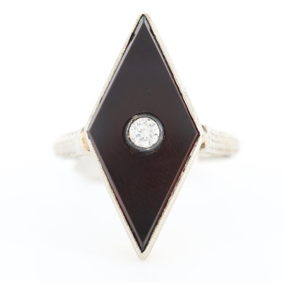 Art Deco 18K White Gold Diamond and Black Onyx Ring