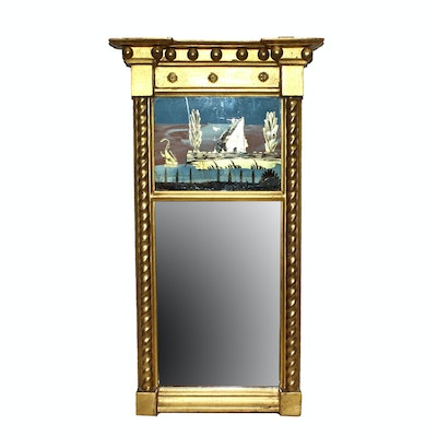 Federal Style Reverse Painted Mirror in Carved Giltwood Frame, Early 19th C.
