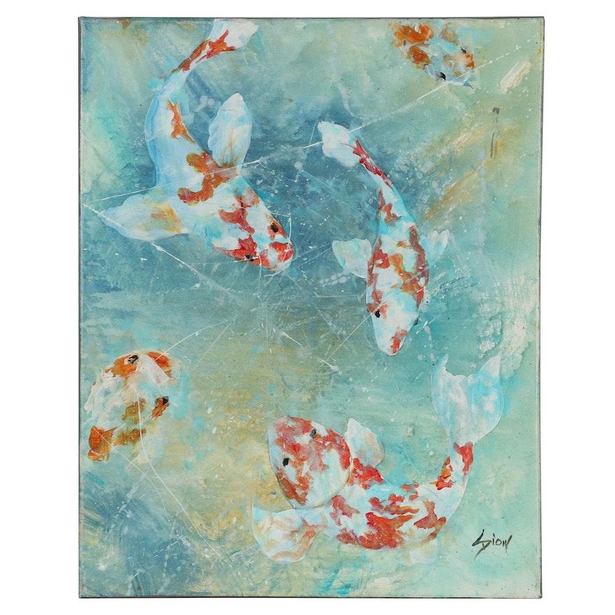 "Sue Dion 2018 Acrylic Painting ""Koi"""