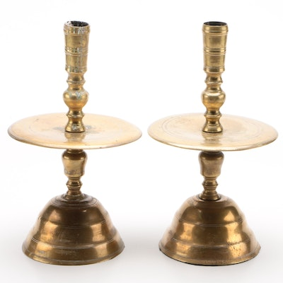 English Brass Candlesticks with Mid- Trays, 19th Century