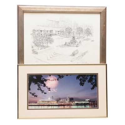 George H. Williams Lithograph of Fountain Square and W.F. Schildman Photograph