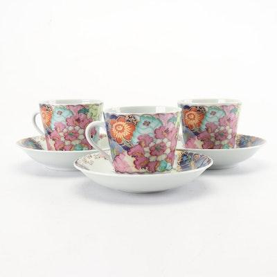 """Mottahedeh Porcelain """"Tobacco Leaf"""" Saucers and Teacups"""