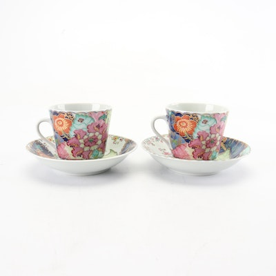 "Mottahedeh Porcelain ""Tobacco Leaf"" Saucers and Teacups"