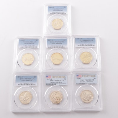 Seven PCGS Graded PR69 DCAM Native American Proof Dollar Coins