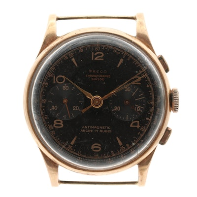Vintage Freco Chronographe Suisse 18K Rose Gold Chronograph Watch