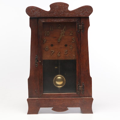 Oak Pendulum Clock, Late 19th to Early 20th Century