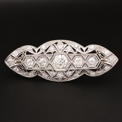 Art Deco Platinum 3.15 CTW Diamond Brooch