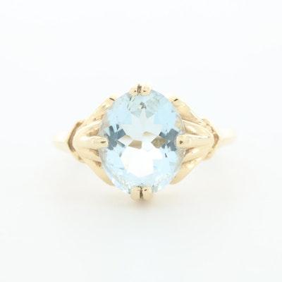 14K Yellow Gold Aquamarine Ring
