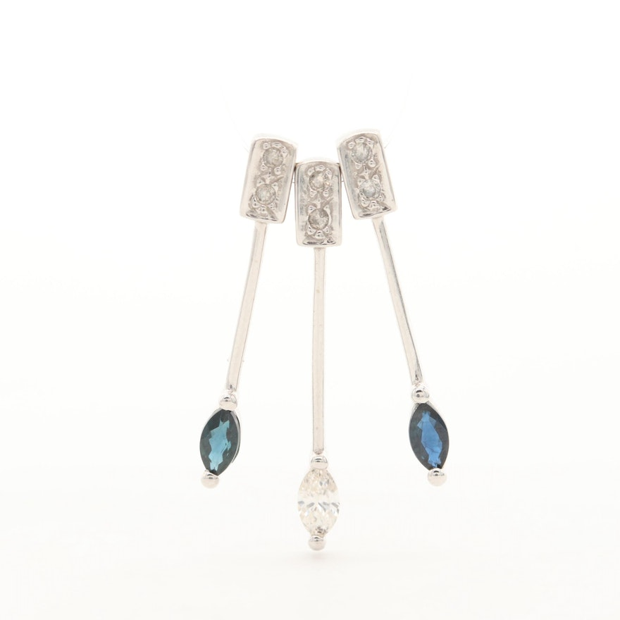 14K White Gold Diamond and Sapphire Drop Pendant Set