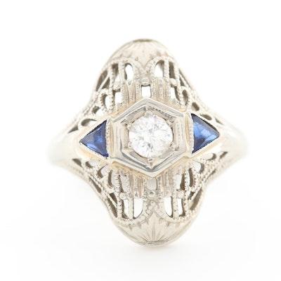 Art Deco 18K White Gold Diamond and Blue Sapphire Filigree Ring