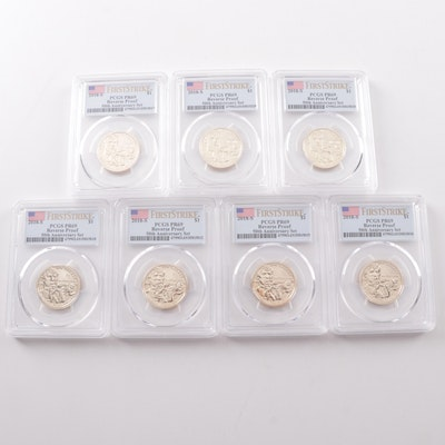 "Seven PCGS Graded PR69 DCAM ""First Strike"" Reverse Proof Jim Thorpe Dollar Coins"