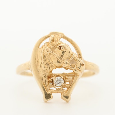 14K Yellow Gold Diamond Horse Ring