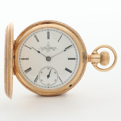 Antique Elgin 14K Rose Gold Hunter Case Pocket Watch, Circa 1889