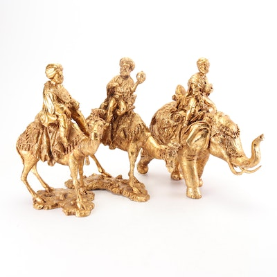"""Gilt Accented Resin """"Three Kings"""" Figurines"""
