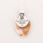 Sterling Silver Agate and Smoky Quartz Pendant Necklace