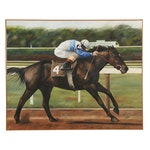 "Oil Painting of ""Ruffian"" on the Tracks for the Comely Stakes, Circa 1977"