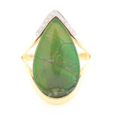 14K Yellow Gold Ammolite Triplet and Diamond Ring