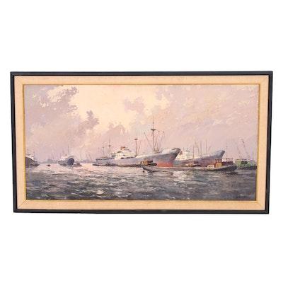 J.H. Stermer Oil Painting of Ships in Harbor