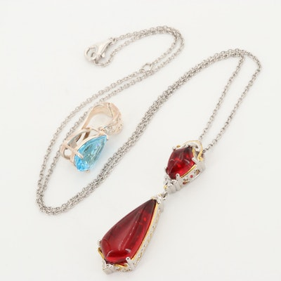 Sterling Silver Acrylic Pendant Necklace and Silver Tone Topaz Enhancer Pendant