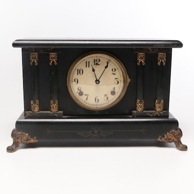 William L. Gilbert Clock Co. Neoclassical Style Wood Mantel Clock, Early 20th C.