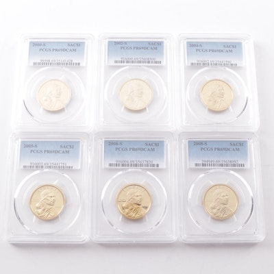 Six PCGS Graded PR69 DCAM Sacagawea Proof Golden Dollars