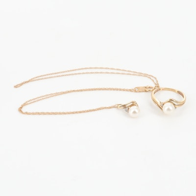 10K Yellow Gold Cultured Pearl Diamond Ring and Necklace