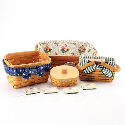 Longaberger Handwoven Maple Handled and Decorative Baskets, Vintage