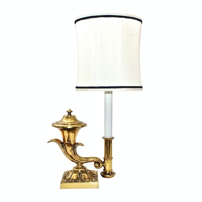 Brass Reproduction Converted Oil Table Lamp Attributed to Chapman