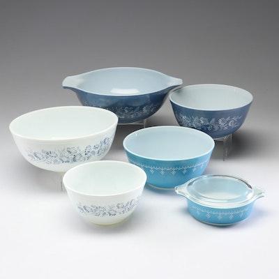"Pyrex ""Snowflake Garland"" and ""Colonial Mist"" Cinderella Mixing Bowls"