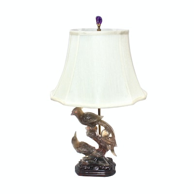 Hand-Carved Figural Quartz Table Lamp with Amethyst Finial