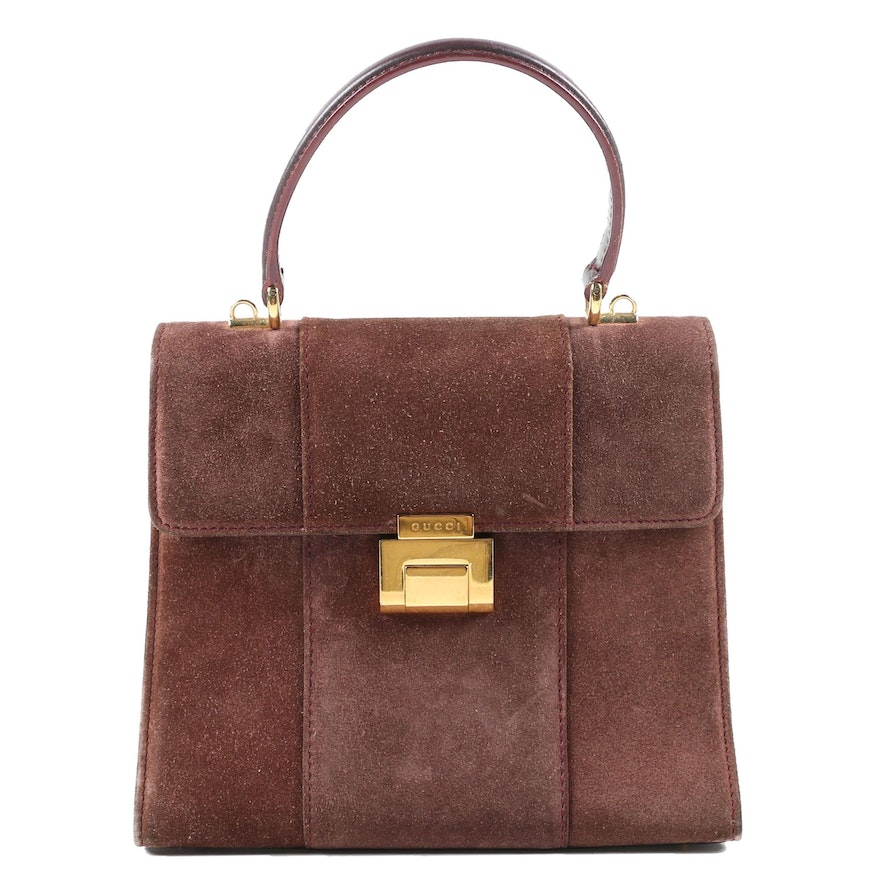 Gucci Brown Suede and Leather Top Handle Bag, 1980s Vintage