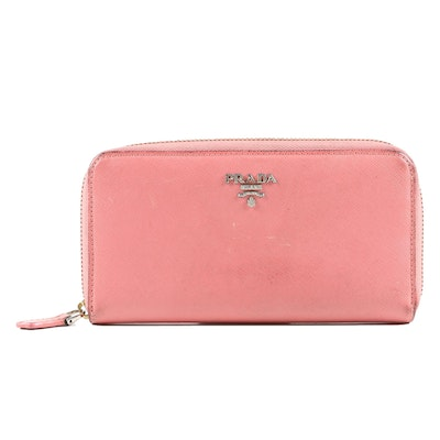Prada Coral Saffiano Leather Zipper Wallet