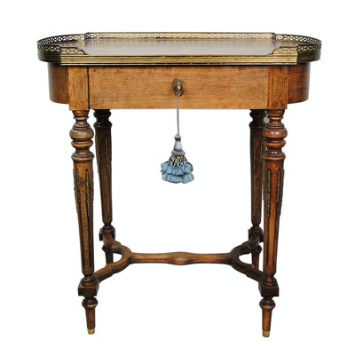 Louis XVI Style Marquetry Galleried Wooden Side Table, Early to Mid 20th Century