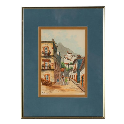 Watercolor Painting of a South American Village Scene