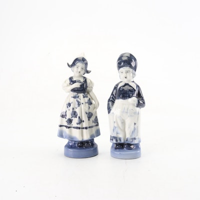 Japanese Blue and White Figurines, Mid to Late 20th Century