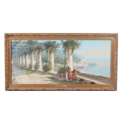 "Charles Caryl Coleman Gouache Painting ""Amalfi Coast"""