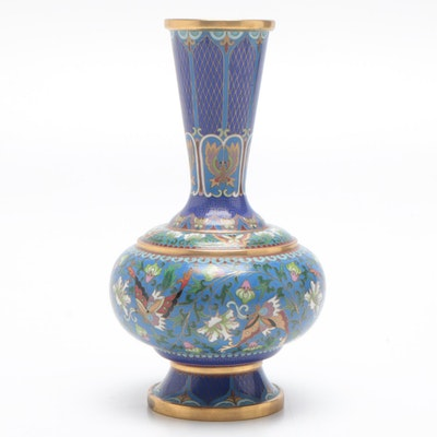 Chinese Cloisonné Butterfly Motif Vase