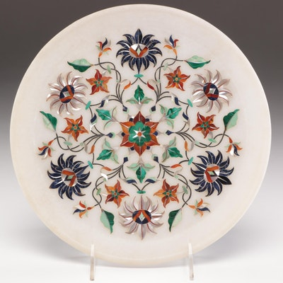 Indian Soapstone Decorative Plate with Mother-of-Pearl Inlay