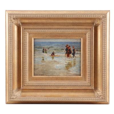 C.C. Cooper Oil Painting of a Beach Scene