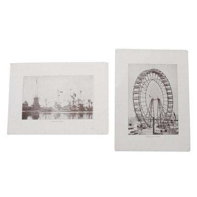 "1893 Chicago World's Fair Lithographs ""Ferris Wheel"" and ""Windmill Exhibit"""