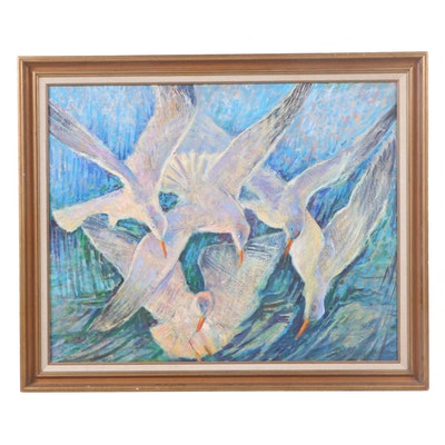 Late 20th Century Oil Painting of Doves