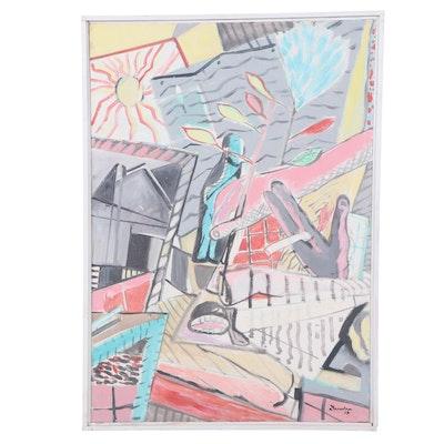 Morris Davidson Abstract Acrylic Painting