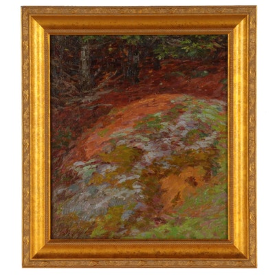 """Henry MacGinnis Oil Painting """"In the Pine Forests at New Hampshire"""""""