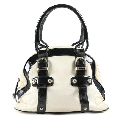 Bally Cream Leather Satchel with Black Patent Leather Trim