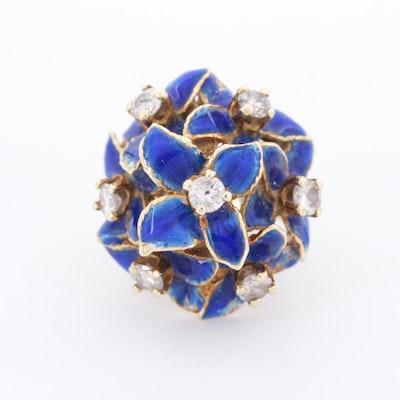 Vintage 14K Yellow Gold Diamond and Enamel Ring
