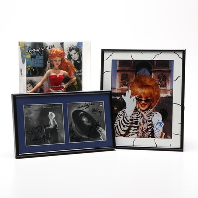 Cyndi Lauper Signed Photo Prints with Boxed 2009 Barbie Doll