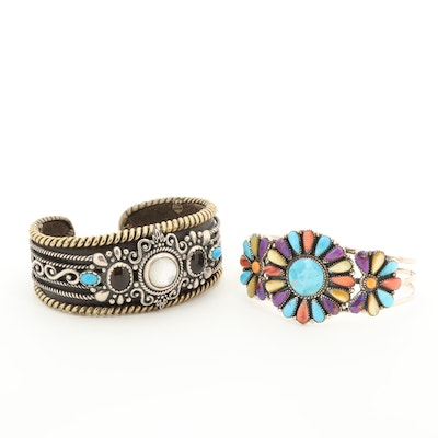 Sterling Silver and Brass Composite Turquoise and Gemstone Cuff Bracelets