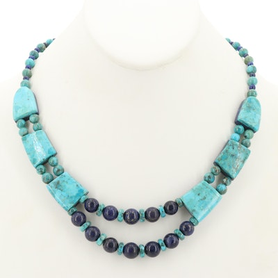 Desert Rose Trading Sterling Silver Turquoise and Lapis Lazuli Necklace