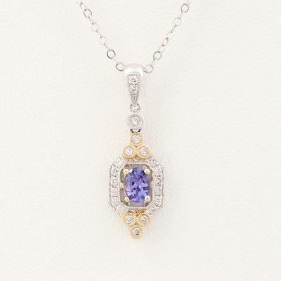 14K White and Yellow Gold Tanzanite and Diamond Pendant Necklace