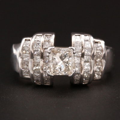 18K White Gold 2.11 CTW Diamond Ring with Stepped Diamond Lined Shoulders